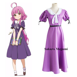 Wholesale Sakura Dress - Japanese Anime SCHOOL - LIVE ! Cosplay Sakura Megumi Costume for Girls Dress With Lolita Style Purple Color