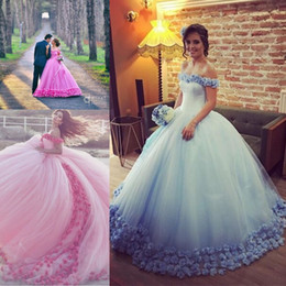 Wholesale Baby Ruffle Jacket - Baby Blue Pink 3D Floral Masquerade Ball Gown Quinceanera Dresses 2017 Handmade Flowers Puffy Skirts Handmade Flower Sweet 15 Girls Dress