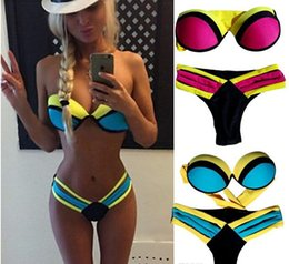 Wholesale Wholesale Push Up Bars - 2016 HOT Sexy Women 3 color Bandage Triangle neoprene beach Bikini Push-up Padded Bar Swimsuit padded zipper bras Swimwear S M L