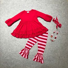 Wholesale Valentine Outfits - Wholesale- baby girls clothes girls V-day outfits children top red with stripe pant clothing Valentines day paty outfits with accessories