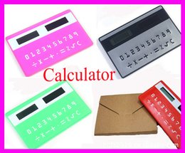 Wholesale Solar Pocket Power - stationery credit card portable calculator mini handheld ultra-thin Card calculator Solar Power Small Slim Pocket Calculator