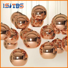 Wholesale Chandelier Glass Balls - Full set LED Pendant Lamp Copper Sliver Shade Mirror Chandelier Light E27 Bulb Modern Christmas Chandeliers Glass Ball droplight Lighting