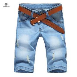 Wholesale Denim Shorts 38 - Wholesale-Brand Design Mens Denim Shorts Homme Knee Length Half Fashion Ripped Shorts For Boys Bermuda Masculina Light Blue Big Size 40 38