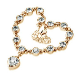 Wholesale Price For Love - New Fashion 18K Gold Plated Austrian Crystal Love Heart Charm Bracelet for Women Made With Swarovski Elements Health Jewelry Wholesale Price