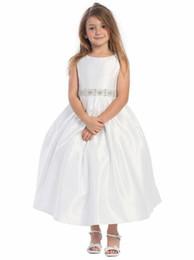 Wholesale Pure White Flower Girl Dresses - 2016 Pure White First Communion Dresses Bowknot Beaded Sash Flower Girls Dress For Wedding Zipper Back Satin Tea Length Little Girls Dresses