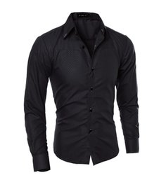 Wholesale Solid Color Dress Shirts Men - Wholesale-Men Shirt 2016 New Arrival Male Solid Color Mandarin Collar Business Long Sleeve Casual Shirt Cotton Dress Shirts M-5XL