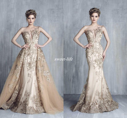 Wholesale Trumpet Skirt Fashion - Champagne Gold Plunging Necklines Evening Dresses 2016 Tony Chaaya Illusion Bateau Mermaid Over Skirts with Applique Beads Lace Prom Dresses