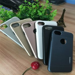 Wholesale Iphone 4s Case Cars - Iphone 7 plus Case Motomo TPU+PC+Metal Hard Back Cover Brush Cases For iPhone 4 4s 5 5s se 6 6s 7 plus work for magnetic car holder