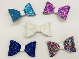 Wholesale Big Glitter Bows - Wholesale 20pcs 5C Fashion Glitter Bow Baby Girls Barrettes Solid Big Bowknot Girls Hairpins Baby Girls Hair Accessories