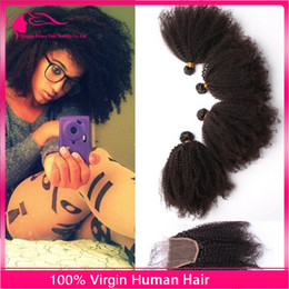 Wholesale Afro Curly Hair For Weaving - Afro Kinky Curly Hair Bundles With Lace Closure 4Pcs Lot Mongolian Virgin Human Hair 4x4 Lace Closure With Hair Extensions For Black Woman