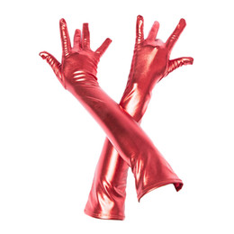 Wholesale Long Latex Gloves Sexy - Adult Sexy Latex Long Gloves Black Red Golden Ladies Fetish Faux Leather Gloves Clubwear Sexy Catsuit Cosplay Costumes Accessory