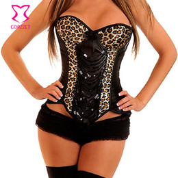 Wholesale Yellow Corset Costumes - Wholesale-Brown Leopard Catwoman Corset Bustier Tops Burlesque Costume Push Up Sexy Corsets And Bustiers Gothic Clothing Korsett For Women