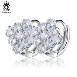 Wholesale Cz Hoops - Fashion Classic Lady Clear Crystal CZ Diamond Jewelry Square Check Design Stud Earrings For Women Brincos OME19