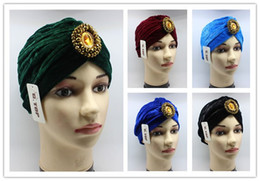 Wholesale Cheap Fitted Caps Free Shipping - 20 pcs cheap Women Jewel Accessory Turban Soft Velvet Turban Headband Beanie Hat Turbante Free shipping