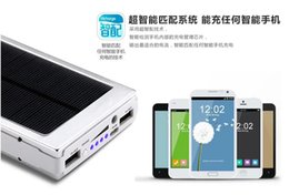 Wholesale Solar Bank Power Charger Iphone - Universal 20000mAh Solar powerbank Solar Power Bank Solar Power Banks 2A Output Portable Charger for iPhone Samsung