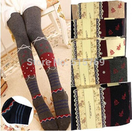 Wholesale Pantyhose Korea - Wholesale-1pc Free shipping Japan and South Korea Adolescent Girls Spring Autumn pure cotton knit striped pantyhose Rose bottoming socks