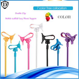 Wholesale Double Clamp - Mobile Phone Long Arm Metal Lazy Bracket Mounting Double Clip Clamp Car Bed Desktop Stand Holder for iPhone 6 smart phone Holders