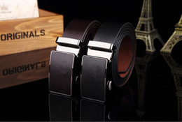 Wholesale Mens Leather Belts Sale - 2015 Brown and Black Pure Color Cow Genuine Leather Belts For Men Sale Automatic Mens Belt Starp Sale Freeshipping