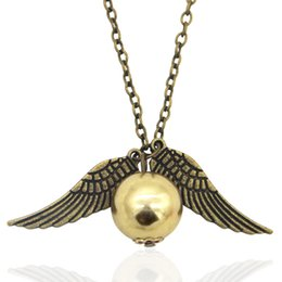 Wholesale Wholesale Gold Feathers - Harry Potter Necklace Golden Snitch Pendent the Deathly Hallows Gold Snitch Exquisite Ball Wings Feather Necklaces