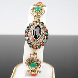 Wholesale Handmade Gemstone Bracelets - Hot fashion national wind retro Chinese style full of diamond facets gemstone bracelet jewelry Nepal handmade jewelry