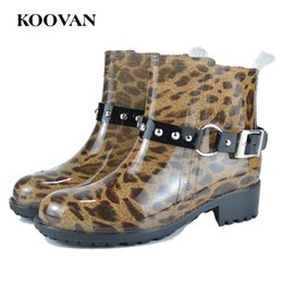 Wholesale Leopard Chunky Heels - Rain Boot Women Buckle Ankle Boot Leopard Add Cotton Warm Shoe Koovan Women Fashion New 2017 Hot Sell Chunky Heel Shoe W406