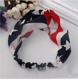 Wholesale European and American trade jewelry hair band hair band children hair accessories chiffon American Flag beach hair accessories manufacturers