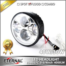 Wholesale Projector Low Beam - 5.75in 5 3 4in Harley motorycle headlight PAR45 day maker projector headlamp chrome black background hi low spot flood driving headlight DRL