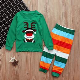 Wholesale Boys Christmas Pajamas 12 - Christmas Boys Clothes Sets 2pcs Baby Kids Autumn Winter Cartoon Long Sleeve Tops+Stripe Pants Pajamas Outfits