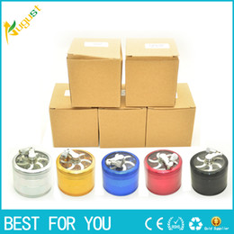 Wholesale Rolling Tabacco - aluminum sawtooth grinder with handle rolling pollen Smoke Grinders 4 laye New tabacco grinder herb grinder