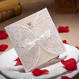 Wholesale Invitation Stamps - White Wedding Invitations Hollow Foil Stamping Uneven Ribbon Wedding Gift Lace Wedding Cards Wedding Favors WA0605