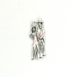 Wholesale Ladies 14k Gold Necklace - 20pcs Antique Silver Plated Lady and Gentleman Charms Pendants for Bracelet Jewelry Making DIY Necklace Craft 27x11mm