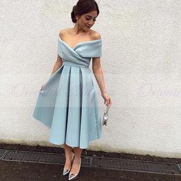 Wholesale Cheap Ice Blue Prom Dresses - Vintage Tea Length Evening Dress 2017 Simple V-neck Cap Sleeve Pleat Ice Blue Satin Arabic Party Gowns Cheap Short Prom Dresses
