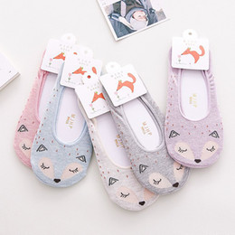 Wholesale Cheap Hosiery Wholesale - Fashion Cartoon Animal Sock Slippers for Girls Cute Fox Invisible Low Cut Socks Cheap Women Hosiery