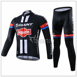 Wholesale Giant Cycling Pants - 2015 Giant black cycling Jersey sets autumn fall with long sleeve bike top & pants cycling clothing bicycle wear size XS-4XL