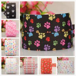 "Wholesale 25mm Tape - 25mm 1"" color paw pattern ribbon printed grosgrain ribbon tape 50yards lot"