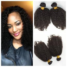 Vente de tissage de cheveux bouclés mongoliens en Ligne-Braderie!! Kinky bouclés cheveux humains tisse non transformés mongol afro bouclés extensions de cheveux humains naturel noir 35g / pcs G-EASY