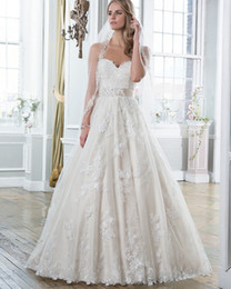 Wholesale Custom Embroidered Belts - Exquisite Embroidered Lace and Tulle Ball Gown Wedding Dresses 2017 Featuring Sweetheart Neck Bridal Gown Detachable Ribbon Belt