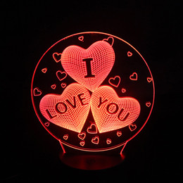 Wholesale Heart Touch Love - Four heart LOVE Gift 3D Birthday Gradient Night Light Touch Contral Stereo Colored Acrylic Light Energy Night Lamp Table Lights