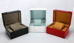 Wholesale Gift Box Bracelet Card - Luxury Original Wood Box for Watch Book Card Top Gift Jewelry Bracelet Bangle Display Black White Red Storage Case Pillow
