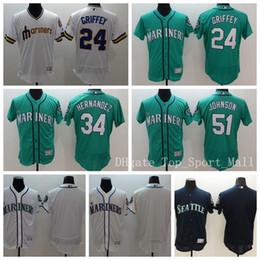 Wholesale Griffey S - Seattle Mariners Baseball Jerseys 2016 Elite 24 Ken Griffey 51 Suzuki Ichiro 34 Felix Hernandez Jersey Men Team Green White Navy Blue