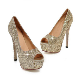Wholesale Gorgeous Silver Shoes - 2016 Fashion Lady Gorgeous Nightclub Evening Shoes Super High Heels Sandals Woman Dress Shoes Gold Wedding Bridal Dress Shoes Peep Toes