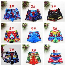 Wholesale Spiderman Swimsuits - DHL Free Ship Boys Swim Trunks Spiderman Cartoon Swimsuits 9Designs Boys Summer Beachwear Kids Cartoon Swimwear