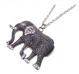 2019 kettenmaskottchen Retro geschnitzte Elefant-Maskottchen-Elefant-Halsketten-Elefant-Halsketten-Schmucksache-Qualitäts-Diamant-Elefant-Strickjacke-Ketten-Weihnachtsgeschenk günstig kettenmaskottchen
