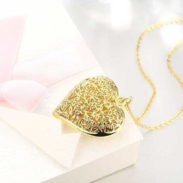 Wholesale 24k Gold Necklace Heart - Heart-shaped hollow out Pendant Necklace 24K Real Gold Plated womans Link Chain Necklace Jewelry birthday Gift