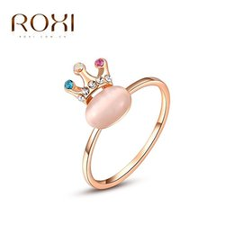 Wholesale Yellow Gold Opal Ring - ROXI New Arrivals Rose Gold Color Crown Opal Ring Statement Rings Fashion Jewelry Gift For Women Party Wedding Free Shipping