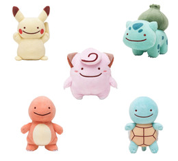 Wholesale Dolls 12 - Hot Sale Cute 12-15cm Pikachu Charmander Squirtle Bulbasaur Clefairy Ditto Metamon Plush Doll Stuffed Toy A001