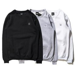 Wholesale Square O - Wholesale dropship resell brand clothes simple square smiley face embroidery cotton round neck men's sweatshirt fleece warm coat