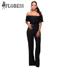 Wholesale Plus Size Strapless Jumpsuit - Wholesale- New 2016 Summer Sexy Bodycon Flouncing Off Shoulder Jumpsuits Strapless Ruffles Black White Straight Rompers Women's Plus Size