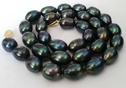Wholesale Baroque Tahitian Pearl Necklace - Gorgeous AAA 11-12mm baroque Tahitian black green pearl necklace 19 inch 14k gold clasp