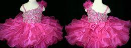 Wholesale High Glitz Pageant Dress Cupcake - 2016 High Quality Fuchsia Infant Toddler Cupcake Kids Mini Short Skirts Playful Little Girls Glitz Beaded Pageant Dresses
